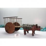 Carreta de Madera con 2 bueyes 16 cm