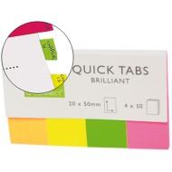 Banderitas separadoras q-connect 20x50 mm fluorescente pack de 4 con 40 hojas.