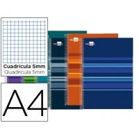 Bloc espiral liderpapel a4 micro classic tapa forrada 160h 60g cuadro 5mm 5 bandas 4 taladros. Colores surtidos
