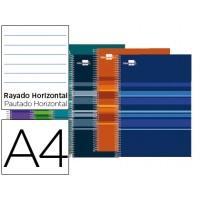 Bloc espiral liderpapel a4 micro classic tapa forrada 160h 60g horizontal 5 bandas 4 taladros. Colores surtidos