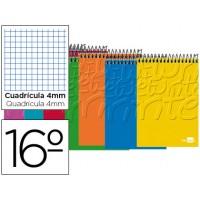 Bloc espiral liderpapel bolsillo dieciseisavo apaisado write tapa cartoncillo 80h 60g cuadro 4mm. Colores surtidos