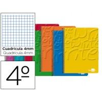 Bloc espiral liderpapel cuarto write tapa cartoncillo 80h 60g cuadros con margen. Colores surtidos