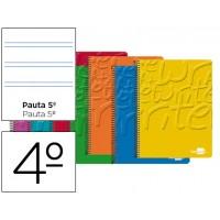 Bloc espiral liderpapel cuarto write tapa cartoncillo 80h 60g pauta 2.5mm con margen. Colores surtidos
