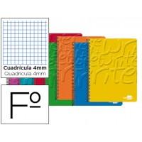 Bloc espiral liderpapel folio write tapa cartoncillo 80h 60g cuadro 4mm con margen. Colores surtidos