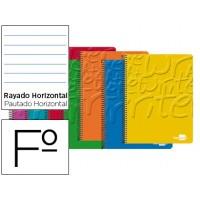 Bloc espiral liderpapel folio write tapa cartoncillo 80h 60g horizontal con margen. Colores surtidos