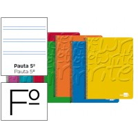 Bloc espiral liderpapel folio write tapa cartoncillo 80h 60g pauta 2.5mm con margen. Colores surtidos