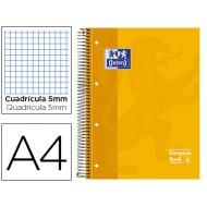 Bloc espiral oxford tapa extradura microperforado din a4 80 hojas cuadros 5mm -color amarillo