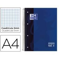Bloc espiral oxford tapa extradura microperforado din a4 80 hojas cuadros 5mm -color azul