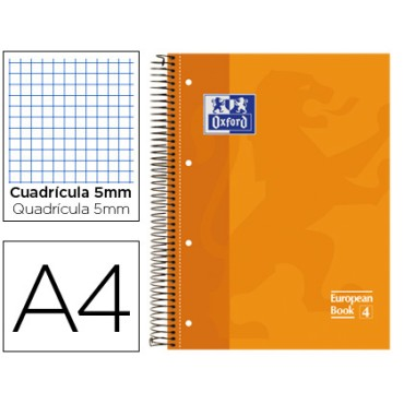 Bloc espiral oxford tapa extradura microperforado din a4 80 hojas cuadros 5mm -color naranja