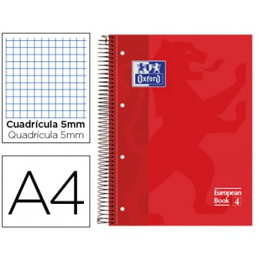 Bloc espiral oxford tapa extradura microperforado din a4 80 hojas cuadros 5mm -color rojo