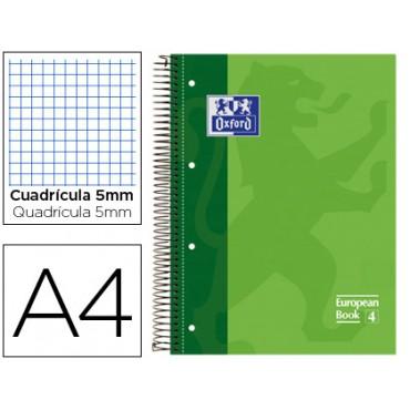Bloc espiral oxford tapa extradura microperforado din a4 80 hojas cuadros 5mm -color verde