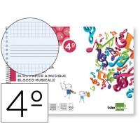 Bloc musica liderpapel pentagrama 3mm mas cuadricula de 4mm para anotaciones cuarto20 hojas 100g/m2