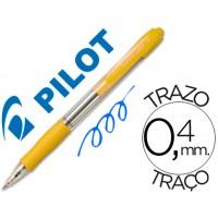 Boligrafo pilot super grip amarillo -retractil -sujecion de caucho