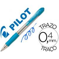 Boligrafo pilot super grip celeste -retractil -sujecion de caucho
