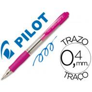 Boligrafo pilot super grip rosa -retractil -sujecion de caucho
