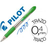 Boligrafo pilot super grip verde claro -retractil -sujecion de caucho