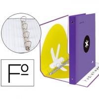 Carpeta 4 anillas 40 mm mixtas liderpapel antartik folio forrada con compresor color violeta.