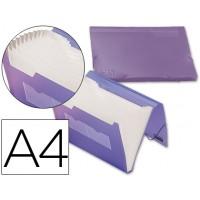 Carpeta beautone clasificador fuelle 32186 polipropileno din a4 violeta serie frosty 13 departamentos