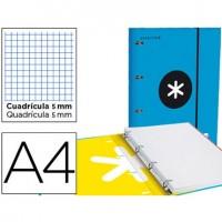 Carpeta con recambio liderpapel antartik a4 cuadro 5 mm forrada 4 anillas 25mm color azul.
