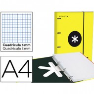 Carpeta con recambio liderpapel antartik a4 cuadro 5 mm forrada 4 anillas 25mm color amarillo.