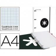 Carpeta con recambio liderpapel antartik a4 cuadro 5 mm forrada 4 anillas 25mm color blanco.