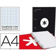 Carpeta con recambio liderpapel antartik a4 cuadro 5 mm forrada 4 anillas 25mm color negro.