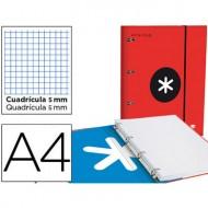 Carpeta con recambio liderpapel antartik a4 cuadro 5 mm forrada 4 anillas 25mm color rojo.