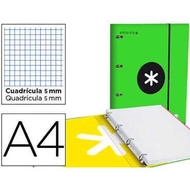 Carpeta con recambio liderpapel antartik a4 cuadro 5 mm forrada 4 anillas 25mm color verde.