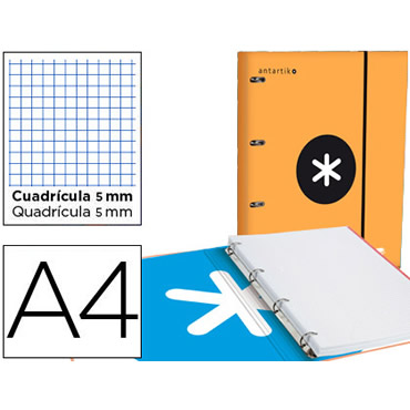 Carpeta con recambio liderpapel antartik a4 cuadro 5 mm forrada 4 anillas 25mm color naranja.