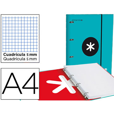 Carpeta con recambio liderpapel antartik a4 cuadro 5 mm forrada 4 anillas 25mm color turquesa.