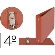 Carpeta de 2 anillas 25mm redondas liderpapel cuarto apaisado carton cuero