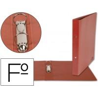 Carpeta de 2 anillas 25mm redondas liderpapel folio carton cuero