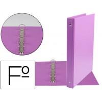 Carpeta liderpapel 4 anillas 25 mm redondas plastico folio color lila