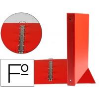Carpeta liderpapel 4 anillas 25 mm redondas plastico folio color rojo