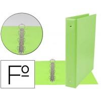 Carpeta liderpapel 4 anillas 40 mm redondas plastico folio color verde pistacho