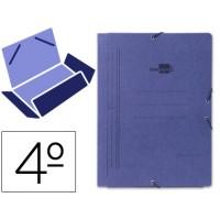 Carpeta liderpapel gomas cuarto 3 solapas carton pintado azul