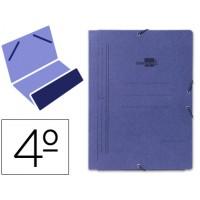 Carpeta liderpapel gomas cuarto bolsa carton pintado azul