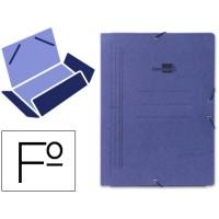 Carpeta liderpapel gomas folio 3 solapas carton pintado azul