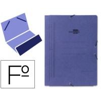 Carpeta liderpapel gomas folio bolsa carton pintado azul