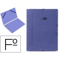 Carpeta liderpapel gomas folio sencilla carton pintado azul