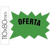 Cartel cartulina etiquetas marcaprecios verde fluorescente 110x80 mm -bolsa de 50 etiquetas