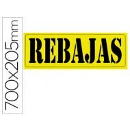 "Cartel cartulina ""rebajas"" amarillo fluorescente -tamaño 700x250 mm"