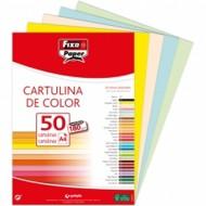 Cartulina Colores Surtidos Claros Din-A4 Fixopaper pack 50