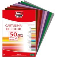 Cartulina Colores Surtidos Intensos Din-A4 Fixopaper Pack 50