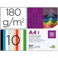 Cartulina a4 180g/m2 10 colores surtidos paquete de 100.