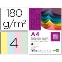 Cartulina a4 180g/m2 4 colores surtidos paquete de 100