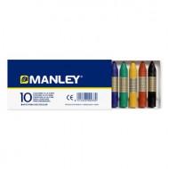 Lapices cera manley -caja de 10 colores ref.110