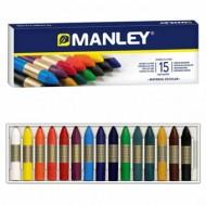 Lapices cera manley -caja de 15 colores ref.115