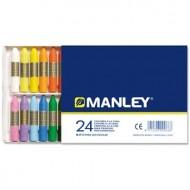Lapices cera manley -caja de 24 colores ref.124