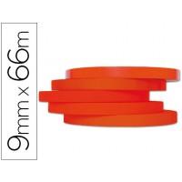 Cinta adhesiva q-connect 66mt x 9mm roja para cerrar bolsas